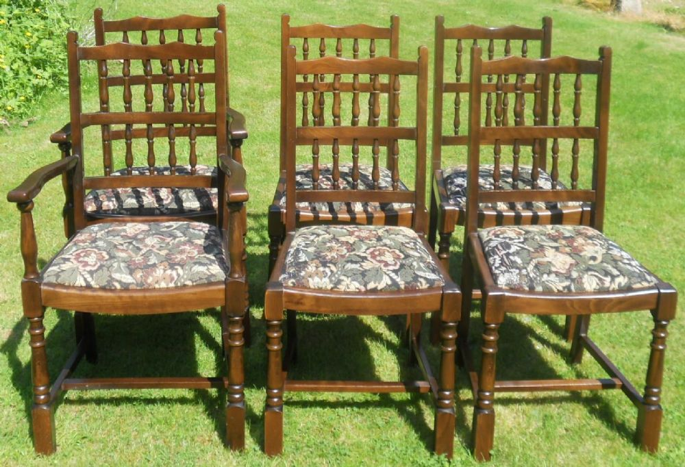 Set of Six Spindleback Dining Chairs by Old Charm